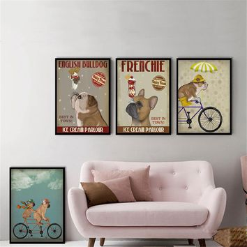 French Dog Ice Cream Parlour Vintage Poster Hanging Wall Art Kids Room Decor Pug Bicycle Wall Painting Canvas Picture Cuadros
