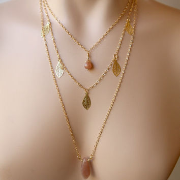 Dainty Three Strand Peach Sunstone Dangling Filigree Leaf Gold Toned Necklace
