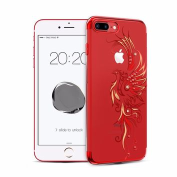 For Apple iPhone 8 7/ Plus Case Gold/ Red/ Black Plated Clear PC Hard Back Cover With Crystals from Swarovski Rhinestone Cases