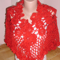 Red color shawl/Crochet red shawl/Beach wrap
