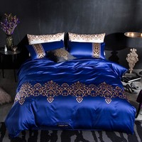 Blue embroidery High Quality silk Bedding Sets New Syle Flat Sheet Pillowcase Bed Linens Deisiner Duvet Cover