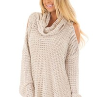 Oatmeal Open Knit Cold Shoulder Cowl Neck Sweater