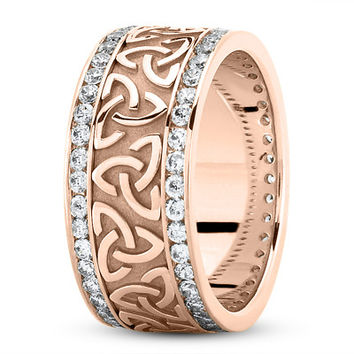 Wedding Band - 18 Karat Rose Gold Celtic Knot Diamond 9mm Wide Wedding Ring