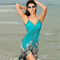 Summer Women Polyester Beach Dress Sexy Sling Beach Wear Sarong Bikini Cover-up Wrap  Skirt Scarf Shawl Towel Open-Back Swimwear