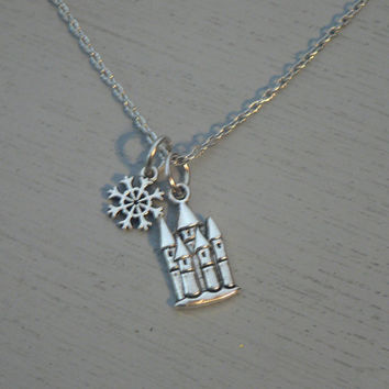 Castle and Snowflake Necklace Once Upon A Time Necklace Frozen Inspired  OUAT Winter Jewelry
