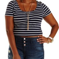 Plus Size Navy Combo Lace-Back Striped Crop Top by Charlotte Russe
