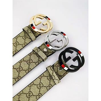 GUCCI 2018 new trend classic print smooth buckle fashion casual belt