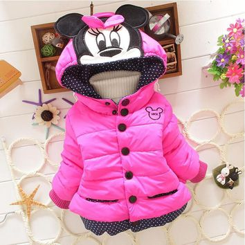 Trendy New Minnie Girls Jacket Cotton Keeping Warm Winter Coat Chirdren Character Lovely Hoodies Kids Clothing AT_94_13