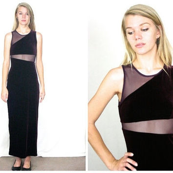 90s Velvet and Sheer Purple Maxi Dress / Cut Out Minimal Asymmetrical Avant Garde Goth Bodycon Long Prom Dress / Size S Small