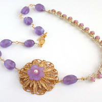Purple Necklace, Re-purposed Jewelry, Statement Necklace, Amethyst Gemstone, Gold, Long, Handcrafted Necklace, Unique Necklace, Vintage