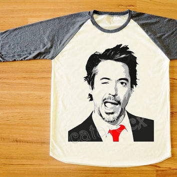 Robert Downey Jr Shirts Iron Man Wink Face Red Tie Shirt Long Sleeve Women Shirt Men Shirt Unisex Shirt Baseball Tee Shirt Raglan Tee S,M,L