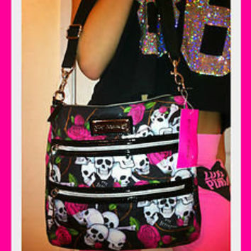 *Betsey Johnson* 2 zip crossbody black skull messenger *PINK ROSE xo* purse NWT