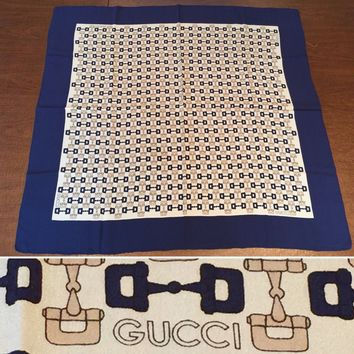 "Authentic Vintage GUCCI Navy Blue/Beige Horse-Bit 31""X 33"" SILK SCARF WRAP Italy"