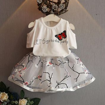 Butterfly Shirt + Flowers Skirt Set