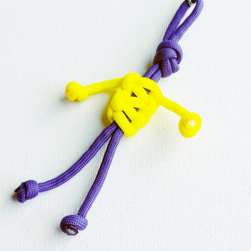 Paracord Keychain - 550 Paracord - Survival Keychains - Purple & Yellow Keychain - Para-Bandit - Zipper Pull - Stocking Stuffers