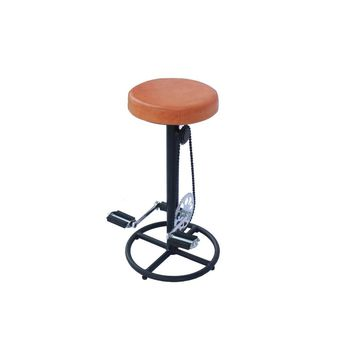 Metal Bar Stool With Retro Bike Chain Pedal Base, Black and Brown By The Urban Port
