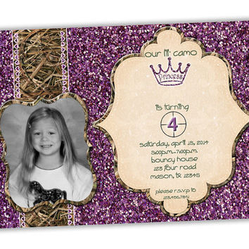 Girls Camo Birthday Invitations - Purple Glitter - Pink Glitter - Camouflage Birthday Party Invitation - Camo Princess - Girl Hunting Party