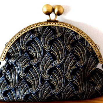 Art deco/shell print/black/silver/blue/gold/small/clutch/clasp bag