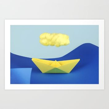 The yellow cloud over the yellow ship Art Print by josemanuelerre