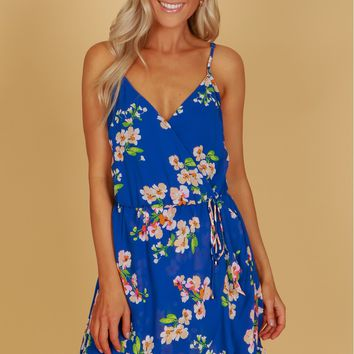 Flower Ruffle Dress Royal Blue