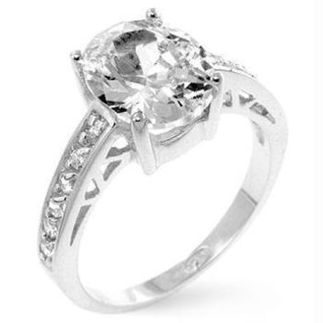 Oval Center Piece Engagement Ring, Size 8