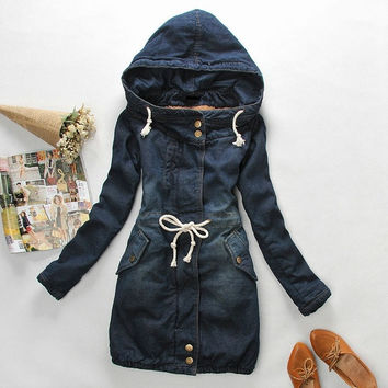New Winter slim berber fleece liner slim drawstring waist  hooded denim wadded jacket thickening outerwear female = 1920210500