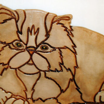 The Perfect Feline Kitty, This Persian Cat is Wood Sculpture Wall Art a Memorial to your Pet.
