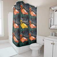 """Dare"" Quote Orange Pink & Yellow Flamingos Photo Shower Curtain"