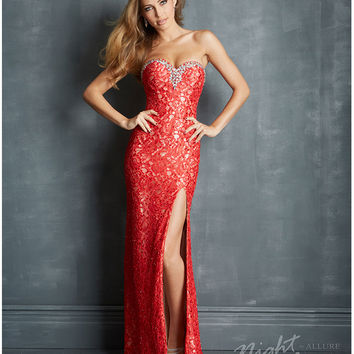 Night Moves by Allure 2014 Prom Dresses - Red Lace & Jewel Strapless Prom Dress