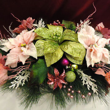 "Christmas Table Arrangement  - ""Poinsettia Perfection "", Pine Table Centerpiece, Christmas, Winter Arrangement, Home Decor, Table Decor,"