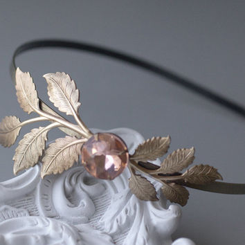 Brass leaves headband bridal blush pink crystal jewel wedding leaf romantic bronze vintage style