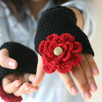 Valentine's Day Fingerless  Gloves Knit in Black, Red Flower, Golden Button - Arm Warmers - Women Teens Accessories - Fall Winter Fashion