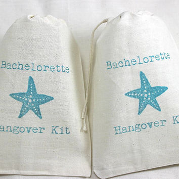 15 Bachelorette Beach Starfish / Hangover Kit - Organic Cotton Drawstring Bags - Great for Bachelorette Parties 5x7
