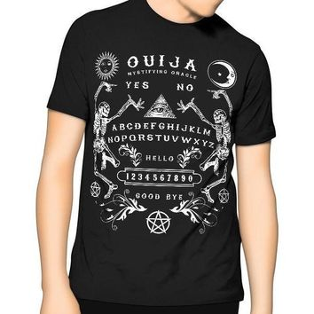 New! Ouija Board Bones T Shirt Black Kill Occult Spirit Pentagram Star Gothic