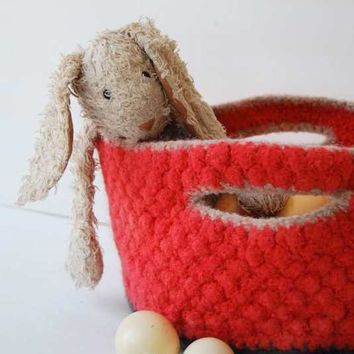 Heirloom Easter Basket Wool Felt Basket Currant and by Mmim