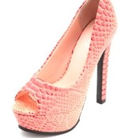 Python Peep Toe Platform Pumps by Charlotte Russe - Coral