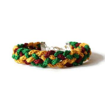 three color braided kumihimo rope bracelet from 5 strands, unisex adult friendship bracelet in green, yellow and red