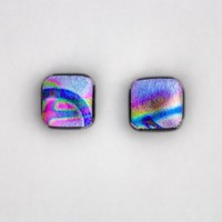 Violet Abstract Square Dichroic Glass Post Earrings