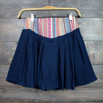 final sale - spanish dancer embroidered flowy skirt in navy