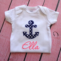 Girl Anchor Onesuit  Nautical Onesuit  Baby Girl by SewSoDarling