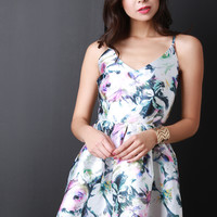 Sketched Flowers Skater Dress