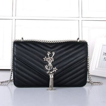 ESBON Yves Saint Laurent YSL' Women Simple Fashion V Quilted Five-pointed Star Metal Chain Single Shoulder Messenger Bag