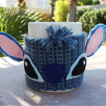 Stitch -ish Coffee Mug Tea Cup Cozy - Blue Alien Disney -ish Lilo & Stitch Handmade Sleeve