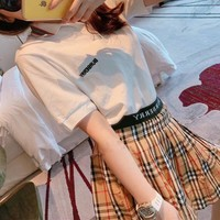""" Burberry"" Woman Casual Simple Wild Fashion Letter Printing Short Sleeve Dress Two-Piece Set Casual Wear"
