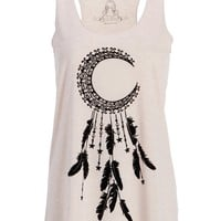 Womens Crescent Moon Dream Catcher Loose Fit Tank Top Muscle Tee