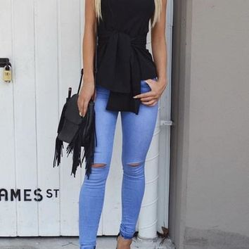 Black Bandeau Sashes Zipper Backless Slim Blouse