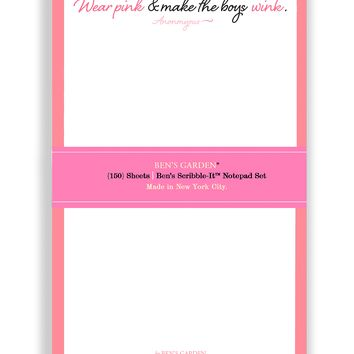 Wear Pink And Make The Boys Wink Scribble Notepad Set Of 3