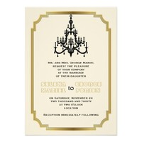 Chandelier and Art Deco border beige wedding
