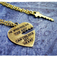 "Tiny Heart Quote ""He Who Holds The Key..."" Charm Necklace in Antique Brass with TWO Delicate 18 Inch Gold Plated Cable Chains"
