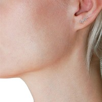 Humble Chic Olive Leaf Studs - 925 Sterling Silver Tiny Delicate Branch Post Ear Stud Earrings